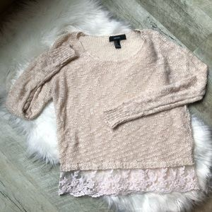 Cream colored Marled knit sweater with lace trim
